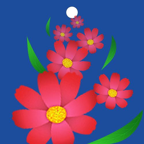 코스모스 꽃봉오리가 흩뿌려지는 볼꼬리 입니다.