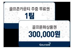 골프존카운티 주중무료권 1팀 골프문화상품권 300,000원